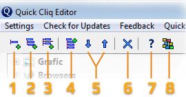 Верхняя панель редактора меню